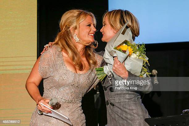 Barbara Schoeneberger and Patricia Kaas attend the Dreamball 2014 at the Ritz Carlton on September 11 2014 in Berlin Germany