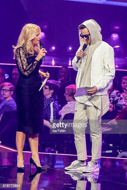 Barbara Schoeneberger and Robin Schulz speak on stage during the Echo Award 2016 show on April 07 2016 in Berlin Germany