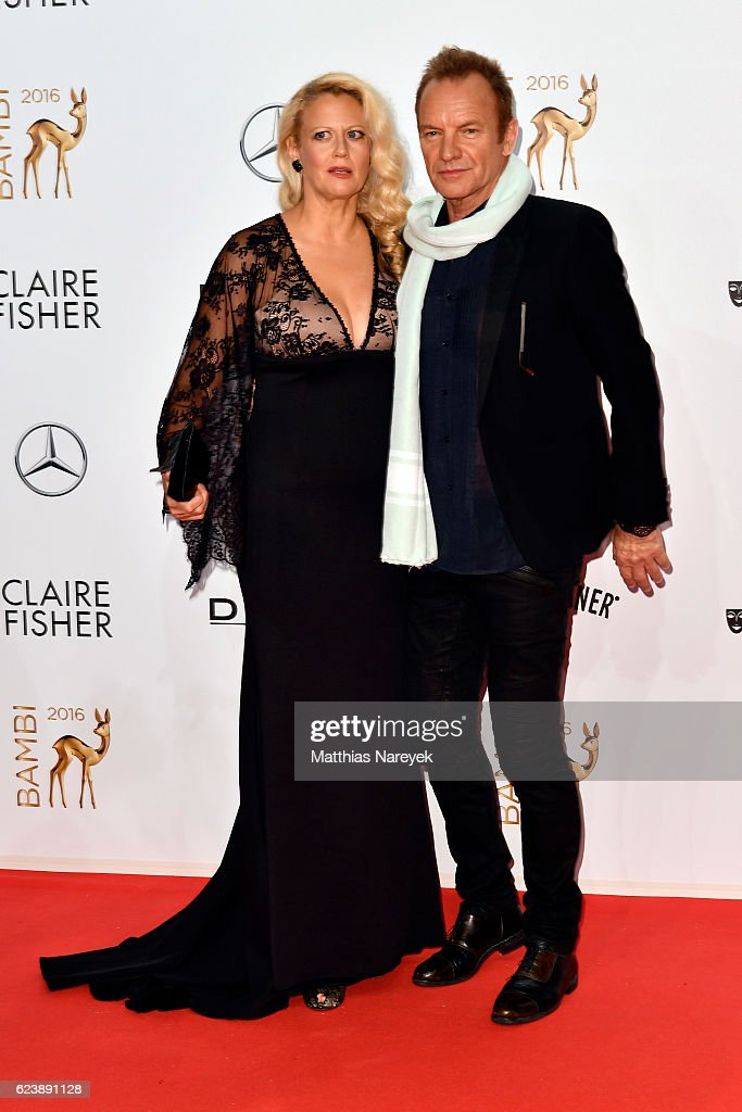 Barbara Schoeneberger (L) and Sting arrive at the Bambi Awards 2016 at Stage Theater on November 17, 2016 in Berlin, Germany.