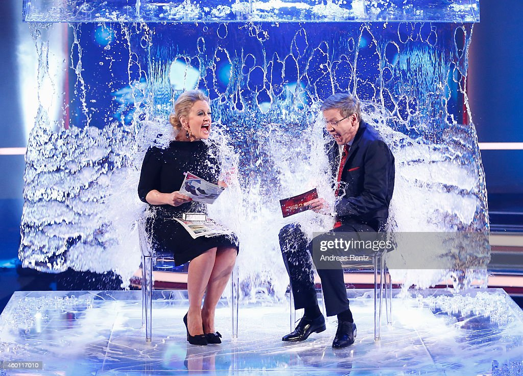 Barbara Schoeneberger and TV host Guenther Jauch take part in the 'Ice Bucket Challenge' during the 2014! Menschen, Bilder, Emotionen - RTL Jahresrueckblick show on December 7, 2014 in Cologne, Germany.