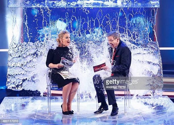 Barbara Schoeneberger and TV host Guenther Jauch take part in the 'Ice Bucket Challenge' during the 2014 Menschen Bilder Emotionen RTL...