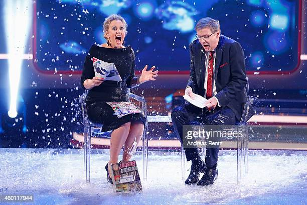 Barbara Schoeneberger and TV host Guenther Jauch take part in the 'Ice Bucket Challenge' during the 2014 Menschen Bilder Emotionen RTL...