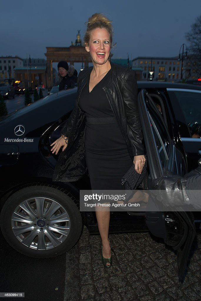 Barbara Schoeneberger arrives at the Marc Cain show during Mercedes-Benz Fashion Week Autumn/Winter 2014/15 at Brandenburg Gate on January 16, 2014 in Berlin, Germany.
