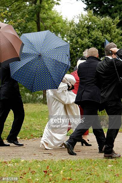 Barbara Schoeneberger arrives for her church wedding witt Maximilian von Schierstaedt at the church of Rambow on October 3 2009 in Rambow Germany