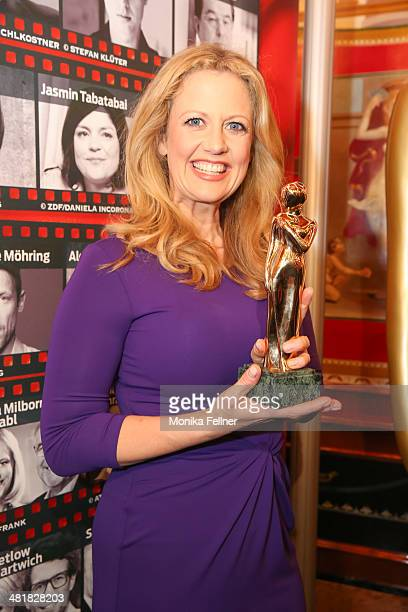 Barbara Schoeneberger attends the Romy award 2014 host photocall at Casino Wien on April 1 2014 in Vienna Austria