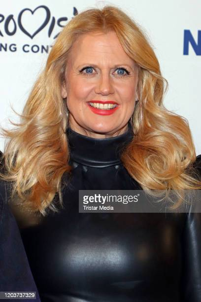 Barbara Schoeneberger attends the Unser Lied fuer Rotterdam photo call at ASTOR Film Lounge HafenCity on February 27 2020 in Hamburg Germany