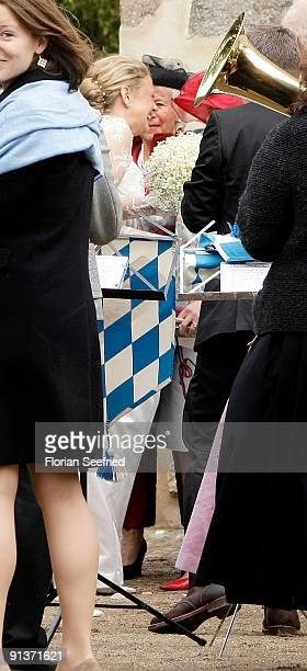 Barbara Schoeneberger attends their church wedding at the church of Rambow on October 3 2009 in Rambow Germany