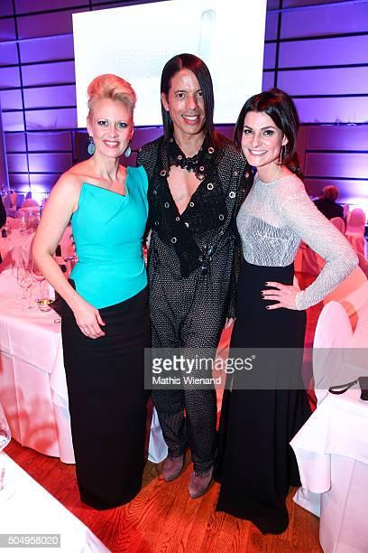 Barbara Schoeneberger Jorge Gonzalez and Marlene Lufen attends the German Television Award at Rheinterrasse on January 13 2016 in Duesseldorf Germany