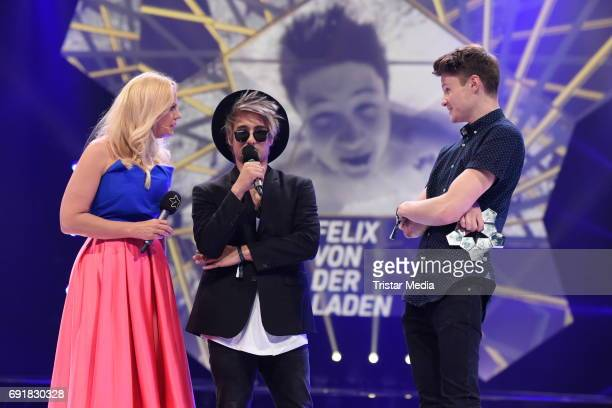 Barbara Schoeneberger, Julien Bam and Dner during the Deutscher Webvideopreis 2017 at ISS Dome on June 1, 2017 in Duesseldorf, Germany.