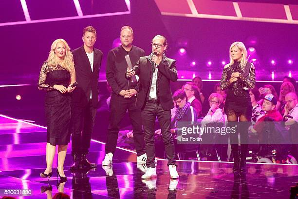 Barbara Schoeneberger Michi Beck and Smudo are seen on stage with the award winners Alex Christensen and Helene Fischer during the Echo Award 2016...