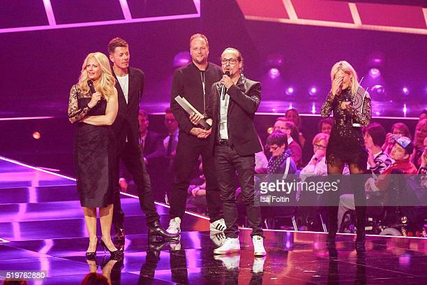 Barbara Schoeneberger Michi Beck Smudo and the award winner Alex Christensen and Helene Fischer are seen on stage during the Echo Award 2016 show on...