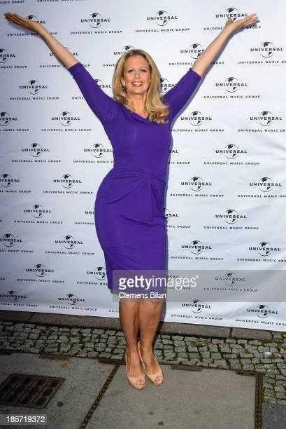 Barbara Schoeneberger poses during the presentation of her new album 'Bekannt aus Funk und Fernsehen' at Emil Berliner Studios on October 24 2013 in...