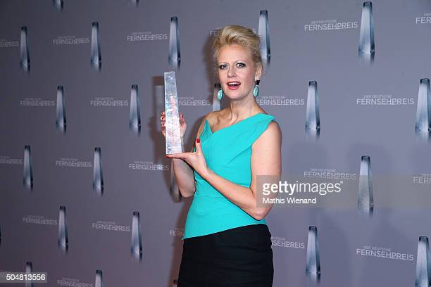 Barbara Schoeneberger presents her award during the German Television Award at Rheinterrasse on January 13 2016 in Duesseldorf Germany
