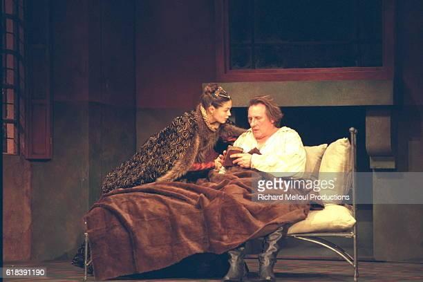 Barbara Schultz and Gerard Depardieu on stage