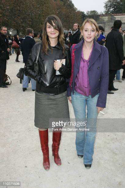 Barbara Schulz and Ludivine Sagnier during Paris Fashion Week Pret a Porter Spring/Summer 2006 Celine Departures at Tuileries in Paris France