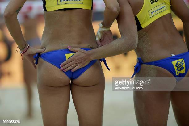 Barbara Seixas and Fernanda Alves of Brazil in action during the main draw match against Barbora Hermannovaa and Marketa Slukova of Czech Republic at...