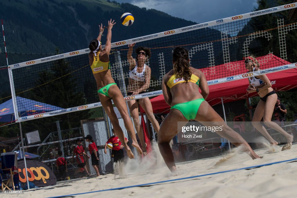 Barbara Seixas de Freitas and Fernanda Berti Alves of Brasil competing against Kerry Walsh Jennings and Nicole Branagh of United States during the third stage of the Swatch Beach Volleyball Major Series 2017 on July 5, 2017 in Gstaad, Switzerland.