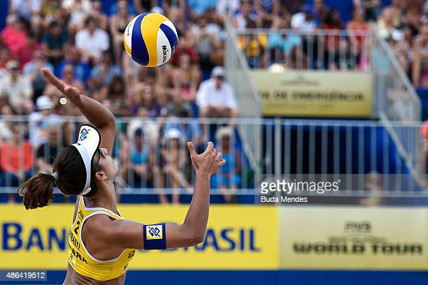 Barbara Seixas of Brazil in action during her match against Pauline Alves and Paula Hoffmann of Brazil at the FIVB Beach Volleyball World Tour Rio...