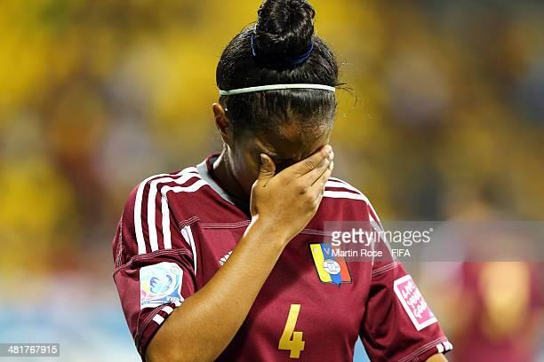 Barbara Serrano of Venezuela reacts during the FIFA U17 Women's World Cup 2014 semi final match between Venezuela and Japan at Edgardo Baltodano...