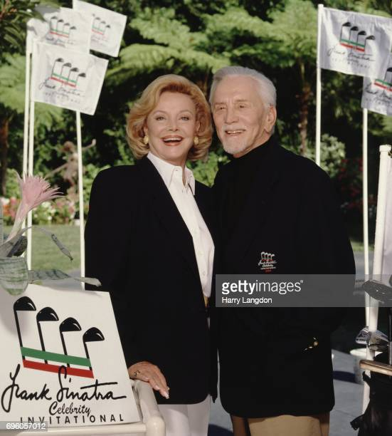 Barbara Sinatra and actor Kirk Douglas pose for a portrait in 1994 in Palm Springs, California.