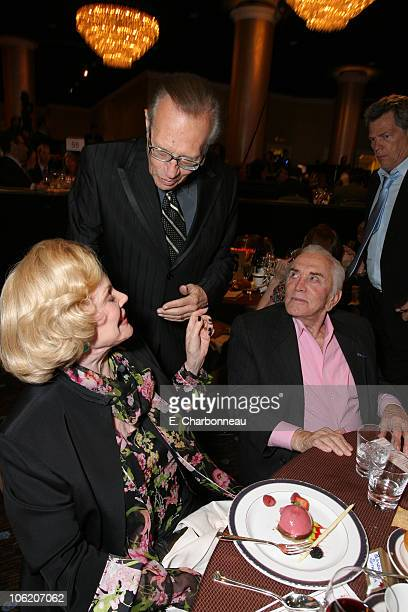 Barbara Sinatra, Larry King and Kirk Douglas during Juvenile Diabetes Research Foundation Annual Gala at Beverly Hilton Hotel in Beverly Hills,...
