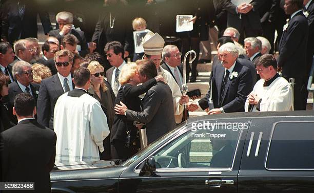 Barbara Sinatra Robert Wagner Gregory Peck leaving the Church of the Good Shepherd Beverly Hills