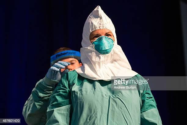 Barbara Smith a nurse with Mount Sinai Health System and Bryan Christensen a doctor and member of the Center for Disease Control's Domestic Infection...