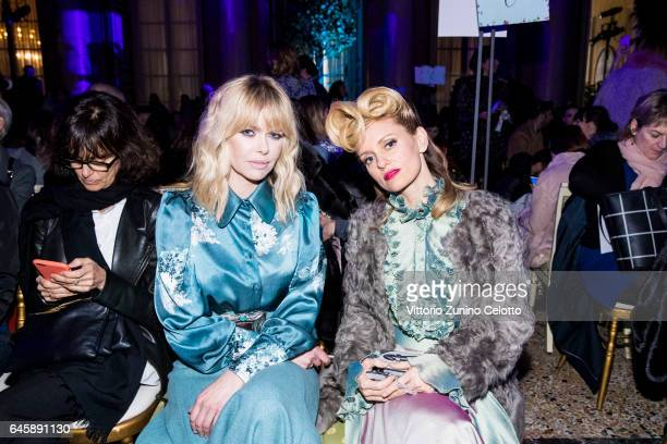 Barbara Snellenburg and Justine Mattera attends the TiffanyCo And Luisa Beccaria show during Milan Fashion Week Fall/Winter 2017/18 on February 23...