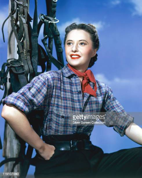 Barbara Stanwyck US actress poses wearing a blue plaid blouse and a red kerchief beside bridles and reins in a studio portrait against a blue...