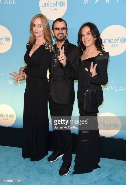 Barbara Starkey Sir Ringo Starr and Olivia Harrison attend the UNICEF USA's 14th Annual Snowflake Ball at Cipriani Wall Street on November 27 2018 in...