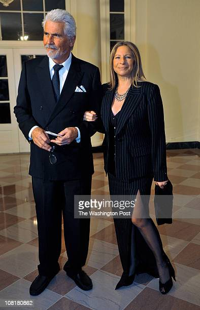 Barbara Streisand right and husband James Brolin arrive before President Obama hosts Chinese President Hu Jintao at a State Dinner at the White House...