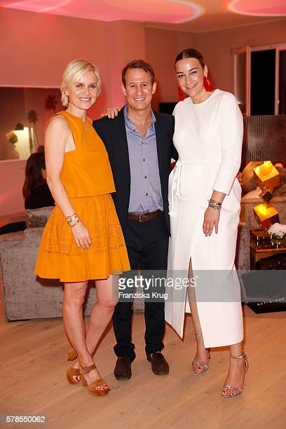 Barbara Sturm Adam Waldman and Lupe Puerta attend the 'Dr Barbara Sturm NetAPorter' Dinner Party on July 21 2016 in Munich Germany