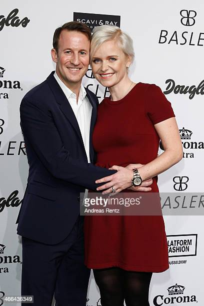 Barbara Sturm and Adam Waldman attend the Basler fashion show on February 1, 2014 in Dusseldorf, Germany.