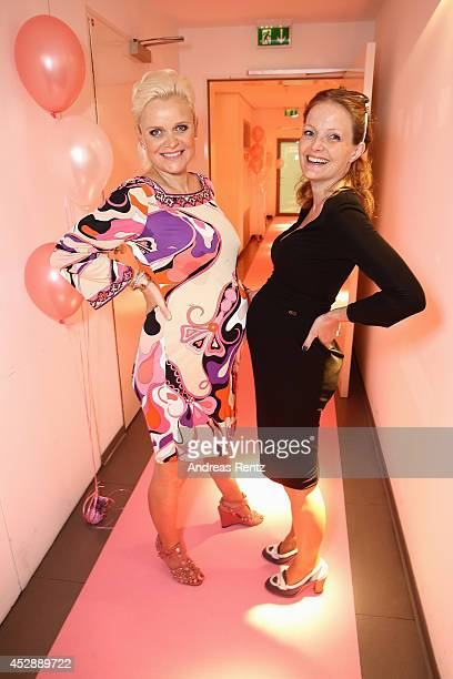 Barbara Sturm and Alexa Kons attend the reception 'Baby shower for Barbara Sturm' on July 29 2014 in Duesseldorf Germany
