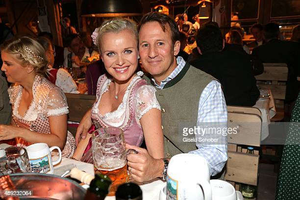 Barbara Sturm and her husband Adam Waldman during the Oktoberfest 2015 Opening at Kaeferschaenke beer tent at Theresienwiese on September 19, 2015 in...