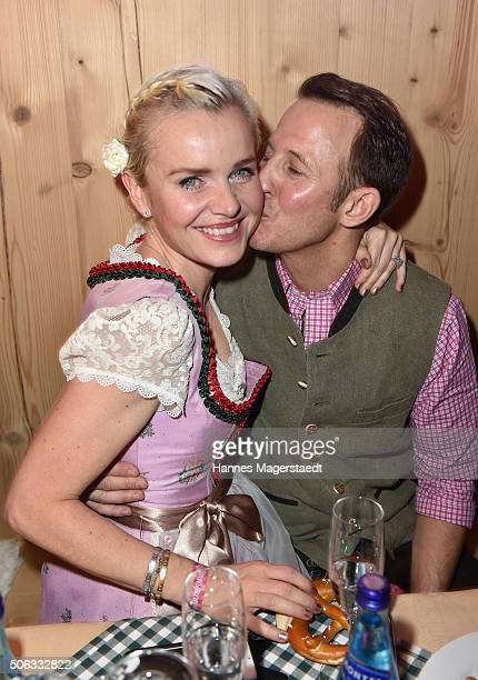 Barbara Sturm and her husband Adam Waldman during the Weisswurstparty at Hotel Stanglwirt on January 22 2016 in Going Austria