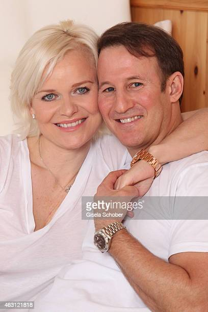 Barbara Sturm and her husband Adam Waldman pose during a portrait session at Hotel Stanglwirt on January 24 2015 in Going Austria