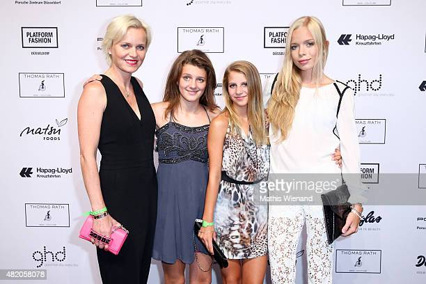 Barbara Sturm guests and Charly Sturm arrive for the Thomas Rath show during Platform Fashion July 2015 at Areal Boehler on July 26 2015 in...