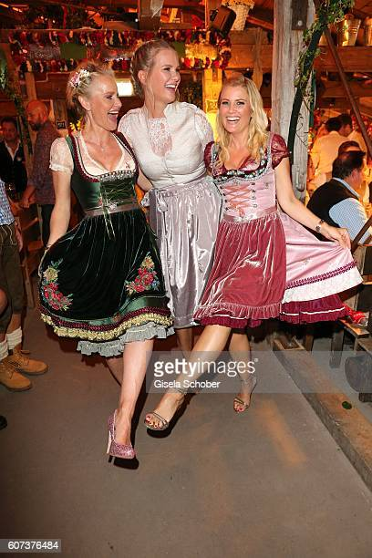 Barbara Sturm Monica Ivancan and Jennifer Knaeble during the opening of the Oktoberfest 2016 at the 'Kaeferschaenke' beer tent at Theresienwiese on...