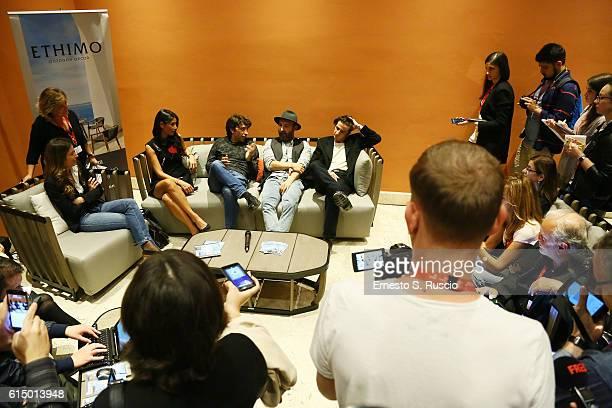 Barbara Tabita, Herbert Ballerina, Maccio Capatonda and Francesco Mandelli attend a press conference for 'Mariottide' during the 11th Rome Film...