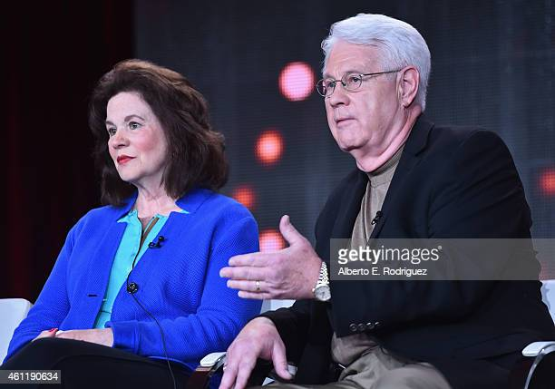 Barbara Thore and Glenn Thore speak onstage during TCL's 'My Big Fat Fabulous Life' panel at Discovery Communications TCA Winter 2015 at The Langham...
