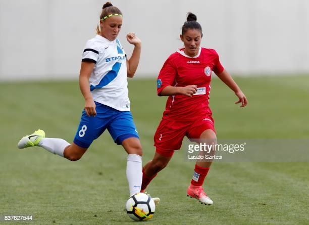 Barbara Toth of MTK Hungaria FC controls the ball next to Arbenita Curraj of WFC Hajvalia during the UEFA Women's Champions League Qualifying match...