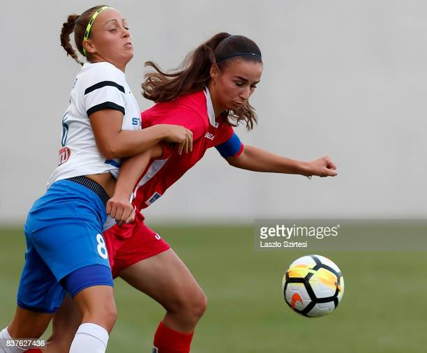 Barbara Toth of MTK Hungaria FC fights for the ball with Zelfie Bajramaj of WFC Hajvalia during the UEFA Women's Champions League Qualifying match...