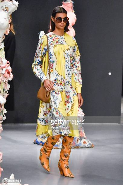 Barbara Valente walks the runway during the Tory Burch Fall Winter 2020 Fashion Show at Sotheby's on February 09, 2020 in New York City.