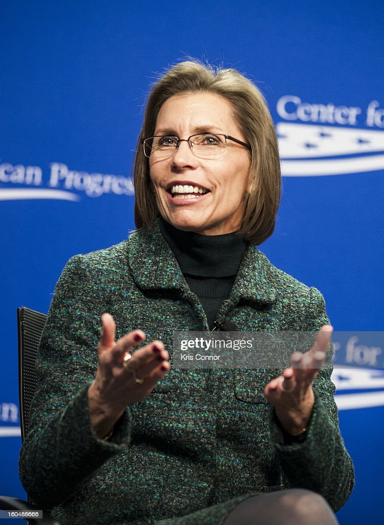 Barbara Van Dahlen, founder of Give an Hour, speaks during the 'Silver Lining Playbook' mental health progress press conference at Center For American Progress on February 1, 2013 in Washington, DC.