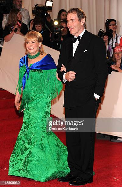 "Barbara Walter and Charlie Rose attend the ""Alexander McQueen: Savage Beauty"" Costume Institute Gala at The Metropolitan Museum of Art on May 2, 2011..."