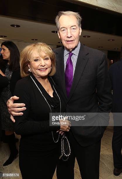 Barbara Walters and Charlie Rose attend The Hollywood Reporter's 5th Annual 35 Most Powerful People in New York Media on April 6 2016 in New York City