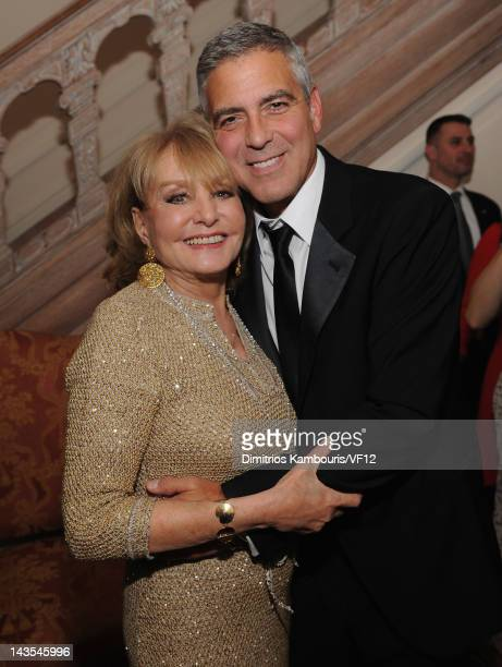 Barbara Walters and George Clooney attend the Bloomberg Vanity Fair cocktail reception following the 2012 White House Correspondents' Association...