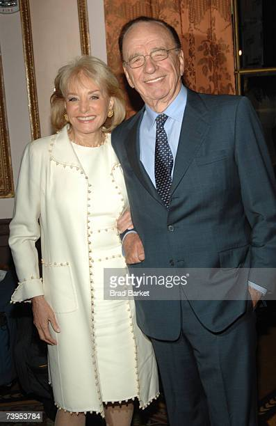 Barbara Walters and NewsCorp's Rupert Murdoch arrive to the New York Women in Communications 2007 Matrix Awards at the Waldorf Astoria on April 23,...