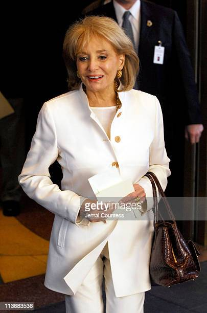 Barbara Walters arrives at the Memorial for Dana Reeve at the New Amsterdam Theatre on March 10, 2006 in New York City. Dana Reeve, wife of the late...